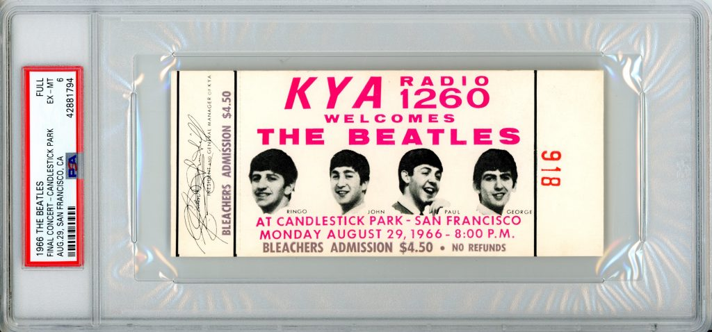 August 29th, 1966. Beatles Last Concert Ticket